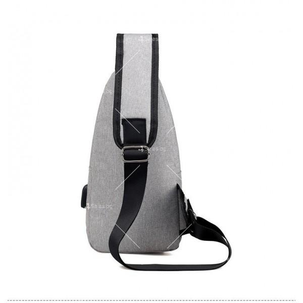 Удобна многофункционална чанта/раница през рамо с USB - BAG105 5