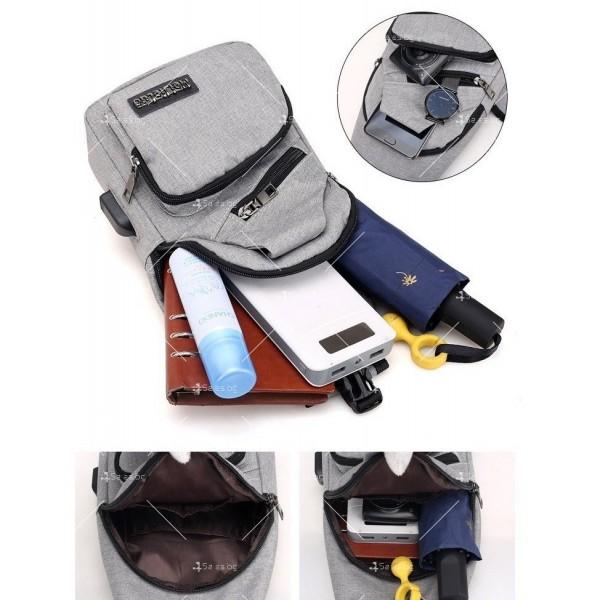 Удобна многофункционална чанта/раница през рамо с USB - BAG105 6