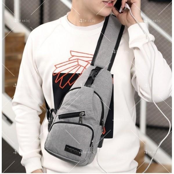 Удобна многофункционална чанта/раница през рамо с USB - BAG105 11