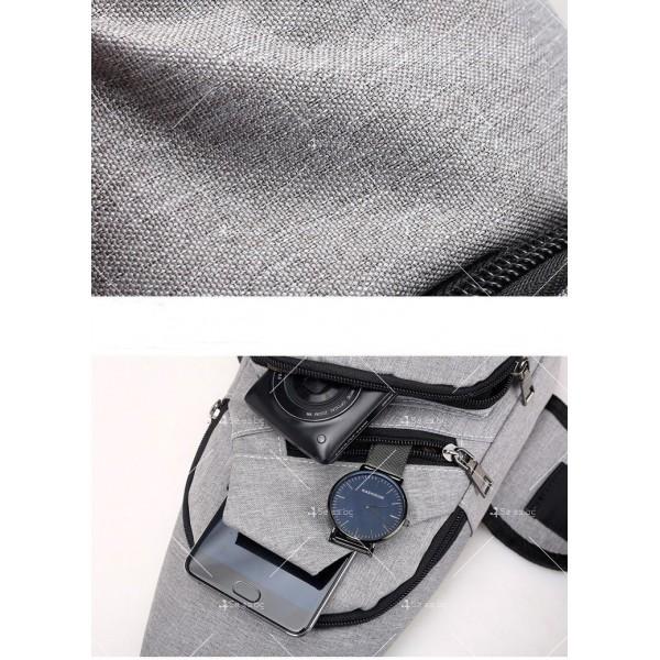 Удобна многофункционална чанта/раница през рамо с USB - BAG105 12