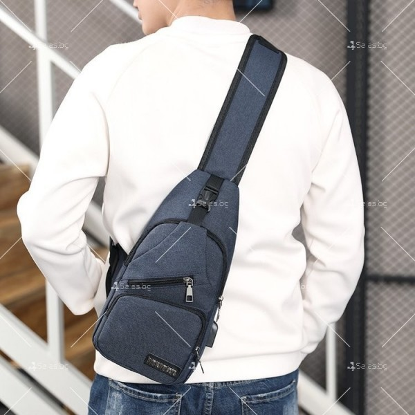 Удобна многофункционална чанта/раница през рамо с USB - BAG105 13