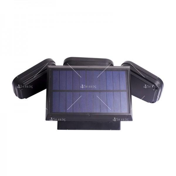 Соларна LED лампа за стена на открито с три глави и LED и COB диоди - H LED28 2