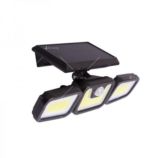 Соларна LED лампа за стена на открито с три глави и LED и COB диоди - H LED28 4