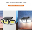 Соларна LED лампа за стена на открито с три глави и LED и COB диоди - H LED28 8