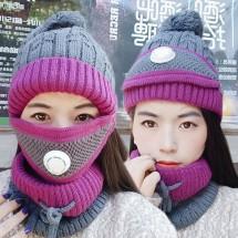 Модна дамска шапка с висока яка и маска за лице с филтър за дишане DM1