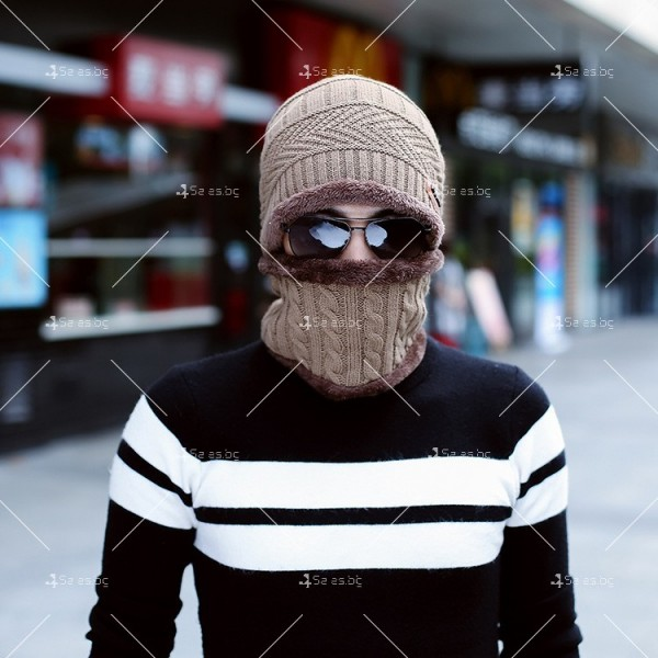 Плетена топла шапка и шал яка в различни цветове DM2 (ADULT) 5