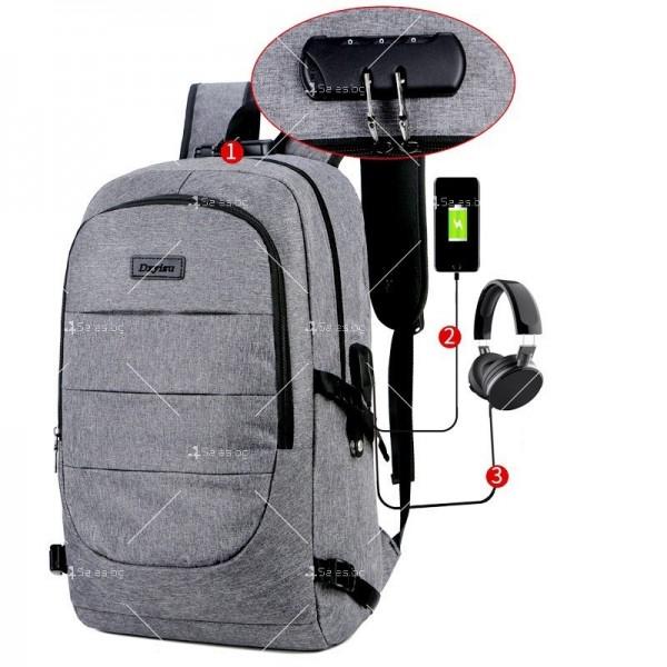 Многофункционална водоустойчива раница с USB зарядно BAG106 3