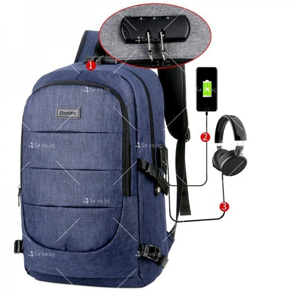 Многофункционална водоустойчива раница с USB зарядно BAG106 4