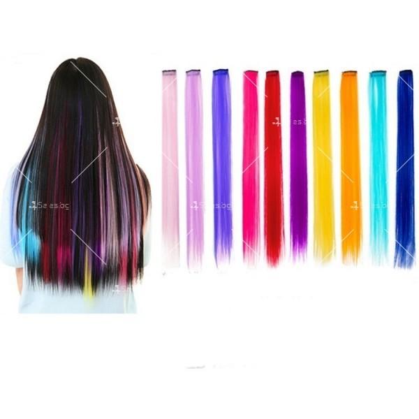 Цветни синтетични кичури коса за удължаване с клипс, дължина 20 инча - F13 3