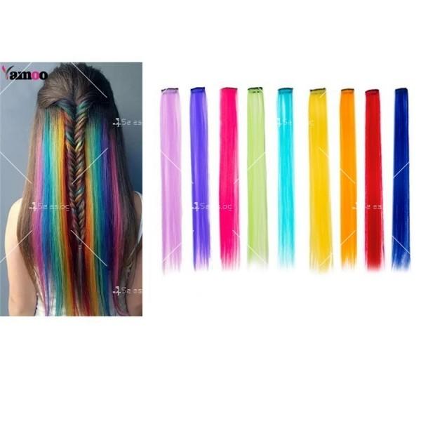 Цветни синтетични кичури коса за удължаване с клипс, дължина 20 инча - F13 2