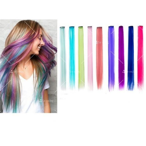 Цветни синтетични кичури коса за удължаване с клипс, дължина 20 инча - F13 4