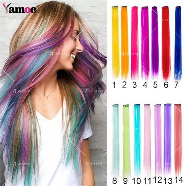 Цветни синтетични кичури коса за удължаване с клипс, дължина 20 инча - F13 1