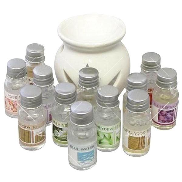 Ароматни натурални масла 12 броя в комплект със свещник и количество от по 10 мл 1