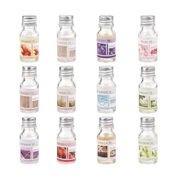 Ароматни натурални масла 12 броя в комплект със свещник и количество от по 10 мл 2