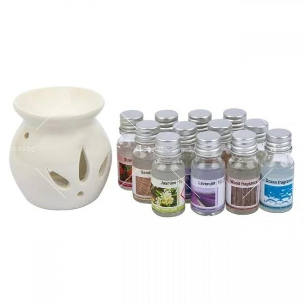 Ароматни натурални масла 12 броя в комплект със свещник и количество от по 10 мл 5