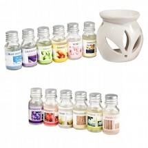 Ароматни натурални масла 12 броя в комплект със свещник и количество от по 10 мл