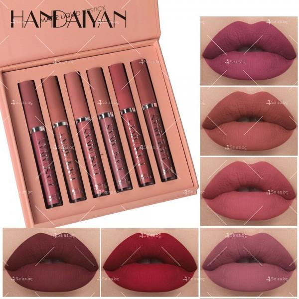 Комплект от 6 броя дълготрайни течни матови червила за устни Handaiyan HZS267 8