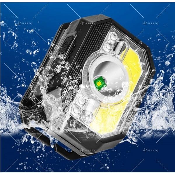 LED фенер за глава с 6 режима на работа, вградена батерия и USB зареждане - FL86 9