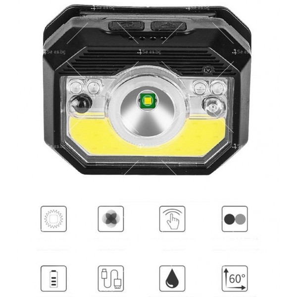 LED фенер за глава с 6 режима на работа, вградена батерия и USB зареждане - FL86 10
