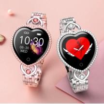 Дамски смарт часовник - гривна с измерване на кръвно налягане, пулс, крачки SMW56