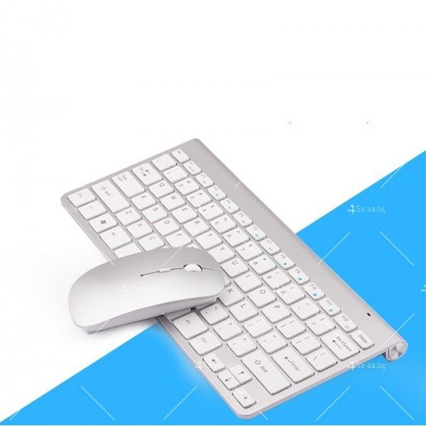 Ултра тънка Wireless клавиатура и оптична мишка за компютър KMT2 3