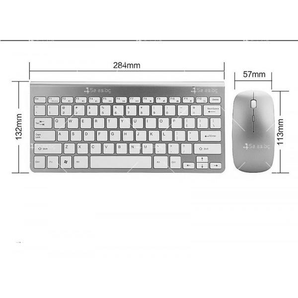Ултра тънка Wireless клавиатура и оптична мишка за компютър KMT2 7