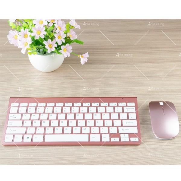 Ултра тънка Wireless клавиатура и оптична мишка за компютър KMT2 8