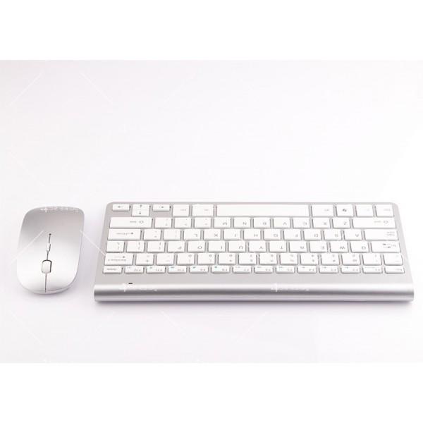 Ултра тънка Wireless клавиатура и оптична мишка за компютър KMT2 9