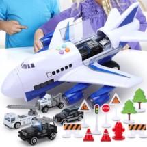 Комплект играчка самолет с писта за колички + 8 колички - WJ6