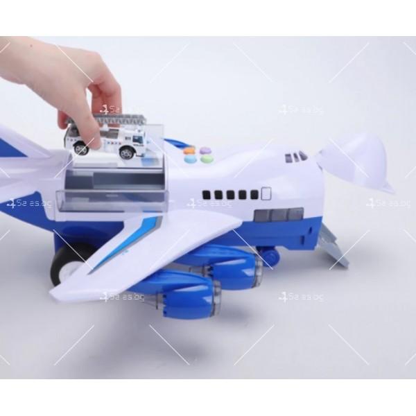 Комплект играчка самолет с писта за колички + 8 колички - WJ6 15