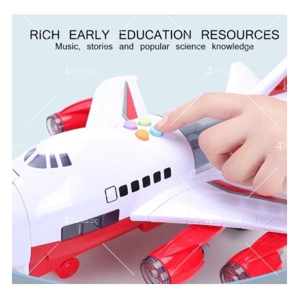 Комплект играчка самолет с писта за колички + 8 колички - WJ6 17