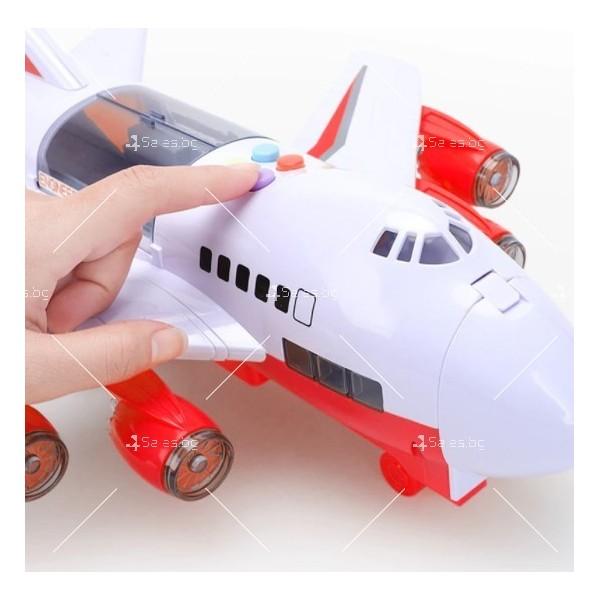 Комплект играчка самолет с писта за колички + 8 колички - WJ6 18
