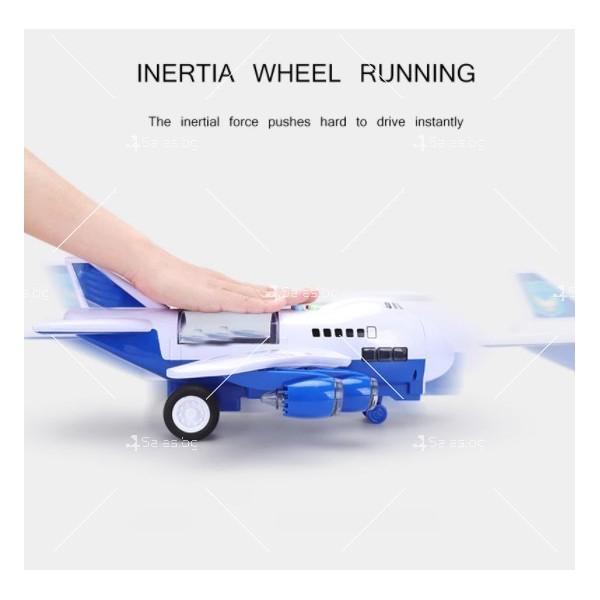 Комплект играчка самолет с писта за колички + 8 колички - WJ6 19