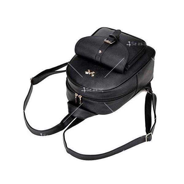 Дамска раница от висококачествена кожа в к-т с две мини чанти и портмоне BAG90 3