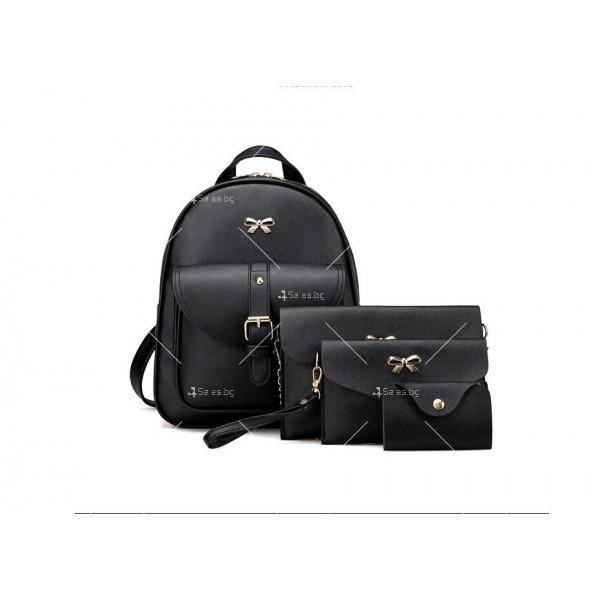 Дамска раница от висококачествена кожа в к-т с две мини чанти и портмоне BAG90 10