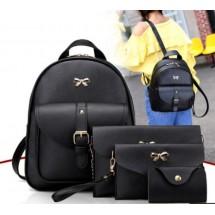 Дамска раница от висококачествена кожа в к-т с две мини чанти и портмоне BAG90