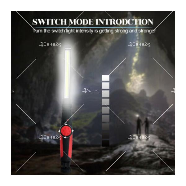 LED фенер с USB зареждане, 360 градуса завъртане и чупещо се рамо 4