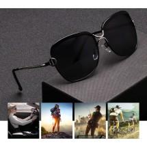 Нов дизайн стилни дамски слънчеви очила с големи стъкла и метална рамка YJ42