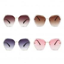 Нови стилни дамски слънчеви очила с големи стъкла и кристаловидни елементи YJ43