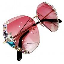 Масивни дамски слънчеви очила с декорация от кристални цветя YJ65