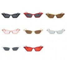 Дамски слънчеви очила във формата на издължено котешко око с тънка рамка YJ67