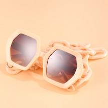 Слънчеви дамски очила с шестоъгълна форма на стъклата и масивна верига YJ79