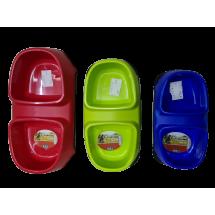 Двойна купичка за храна за домашни любимци със силиконова подложка LBF2