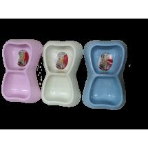 Двойна квадратна пластмасова купичка за храна за домашни любимци LBF5