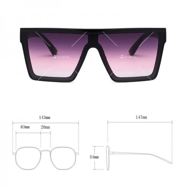 Дамски слънчеви oversized очила в квадратна форма 9