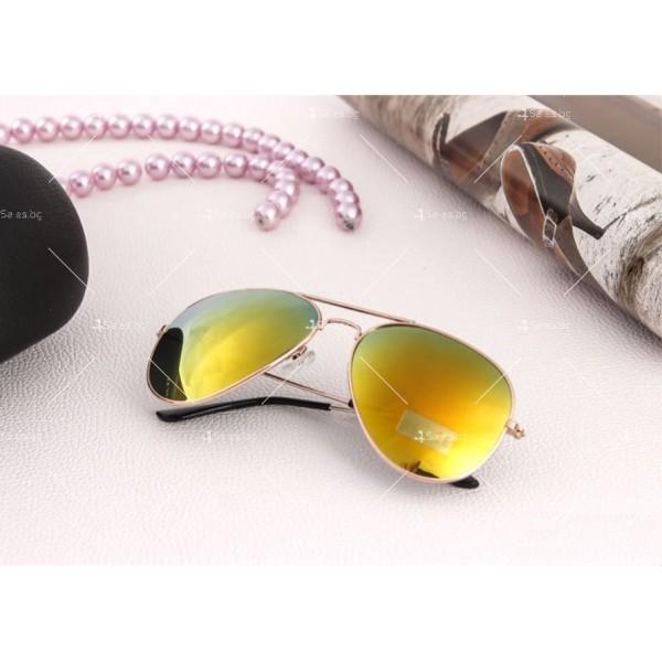 """Дамски очила тип """"Авиатор"""" с огледални стъкла в различни цветове YJ84 9"""