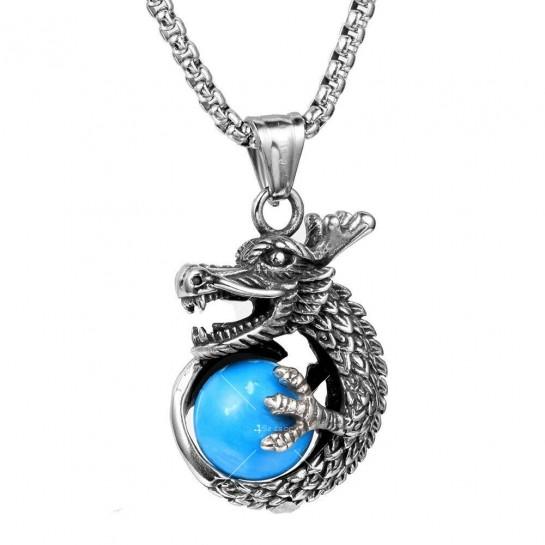 Интересна висулка дракон с красив камък с декорация камък в различни цветове NSD8