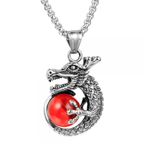 Интересна висулка дракон с красив камък с декорация камък в различни цветове NSD8 2