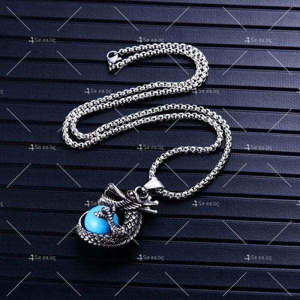 Интересна висулка дракон с красив камък с декорация камък в различни цветове NSD8 4