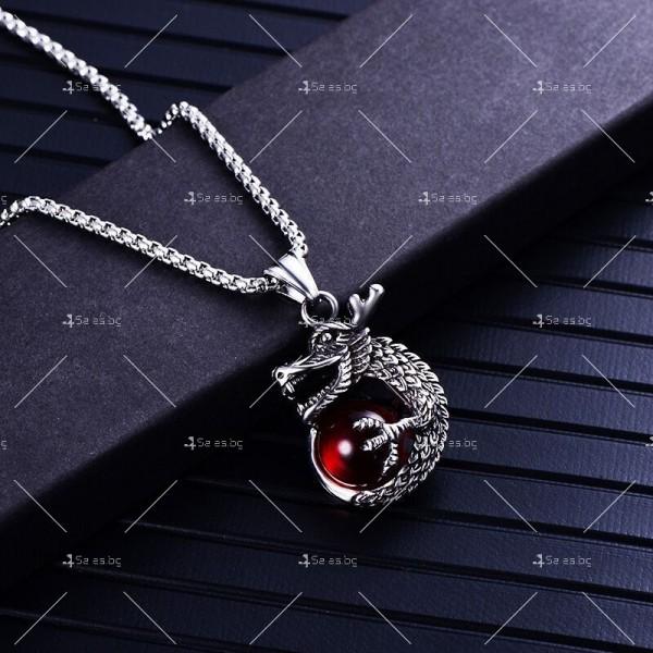 Интересна висулка дракон с красив камък с декорация камък в различни цветове NSD8 6